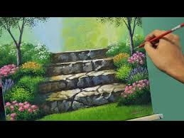 acrylic landscape painting lesson stairway to flower garden by jmlisondra you