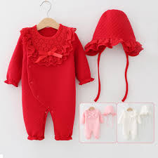 Lace Collar Bow Newborn Baby Jumpsuit <b>Winter Thicken Warm</b> ...