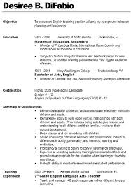 Resume Format For School Teacher Best Teachers Middle Free Download