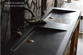 63 trough sink double black granite stone bathroom basins folege shadow