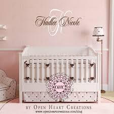 Baby Monogram Wall Decor Baby Nursery Decor Initial Hadlee Nicole Baby Name Decals For