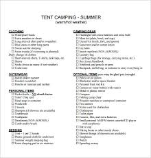 Camping Checklist Templates – 18+ Free Word, Excel, PDF Documents ...