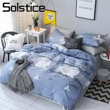 solstice home textile blue gray moon duvet cover pillowcase bed sheet boy kid teen girl bedlinen single double 3 bedclothes cowboy bedding denim duvet cover