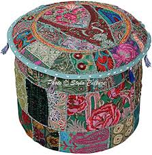 Stylo Culture Cotton <b>Round Pouf</b> Cover Patchwork <b>Embroidered</b> ...