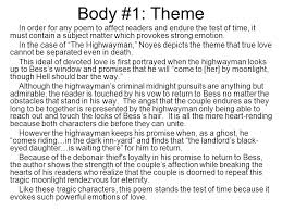 "help and example from ""the highwayman"" ppt video online  body 1 theme in order for any poem to affect readers and endure the"