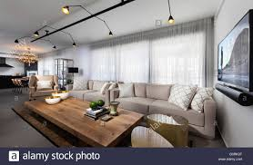 track lighting living room. Spacious Open Plan Living And Dining Room With Track Lighting Wood Floor