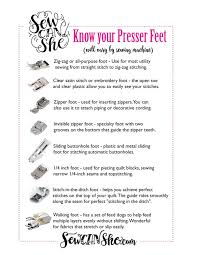 Sewing Machine Presser Feet A Handy Printable Guide