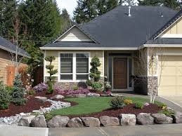 ... Landscape, Amusing Gray Square Ancient Stone Front Of House Landscaping  Ideas Decorative Gravel Floor And ...