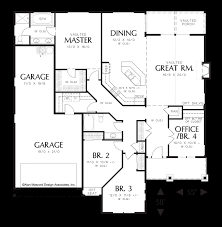 main floor plan image for mascord sutton vaulted single story plan with open great room