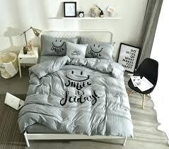 grey linen duvet cover twin size bedding set girl polyester smile pillowcases