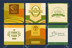 Food Product Label Design Template Food Label Logo Set Organic Bio Ecology Natural Design Template