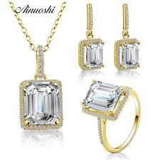 2019 ainuoshi 10k solid yellow gold jewelry sets emerald cut big stone halo ring pendant drop earring luxurious women jewelry sets from navyjewelry