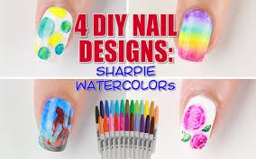 4 Ways to DIY Sharpie Watercolor Nail Art! - YouTube