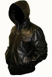 hooded black leather jacket