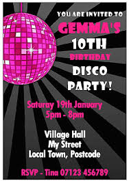 Childrens Disco Invitations Personalised Childrens Disco Party Invitations With