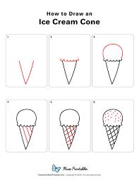 Ice Cream Cone Drawing Simple