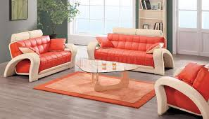 Contemporary leather living room furniture Family Home Design Layout Ideas Contemporary Orange Beige Bonded Leather 7030 Living Room Sofa