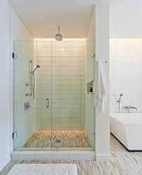 Glass Tile Bathrooms Glass Tile Shower Bathroom Contemporary With Accent Colors Bold