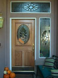 exterior wooden door with stained glass panels for small and narrow modern house design ideas