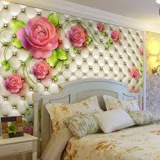 Small Picture Aliexpresscom Buy Romantic Rose Photo wallpaper 3D Flowers Wall
