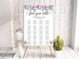 Floral Seating Chart Wedding Guest List Table Assignment Editable Seating Seating Chart Board Seating Board Find Your Seat Sign