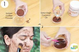 mix and apply the coffee face mask for glowing skin
