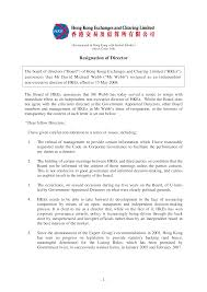 Resignation From Board Hong Kong Board Of Directors Resignation Letter Sample