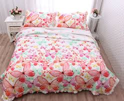 water wash butterfly pink floral cotton quilting quilts 3pcs set ... & water wash butterfly pink floral cotton quilting quilts 3pcs set bedspread  cushion patchwork quilt bedcover bedding Adamdwight.com