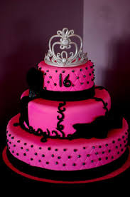 Sweet 16 Birthday Cakes Pink And Black Cake The Crown Was Made Out Of