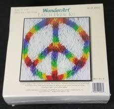 wonder art rainbow peace sign 4903 latch hook kit