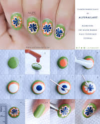 Flower Marble Nails - Blobbicure Dry Water Marble Nails Technique ...