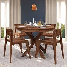 round dining room sets for 4. Liana - Gordon 4 Seater Round Dining Table Set (Teak Finish) By Urban Ladder Room Sets For A
