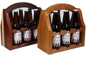 wooden beer caddy 6 pack bottle carrier tote with opener kit personalized