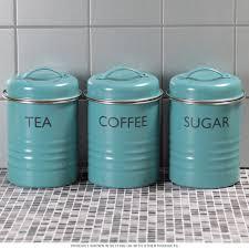 tea coffee sugar canister set blue vintage style kitchen jars regarding metal kitchen canisters