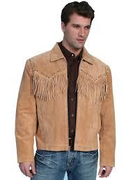 scully leather mens western boar suede fringe jacket bourbon