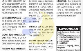 Telp / sms / wa : Lowongan Kerja Kletek Lowongan Kerja Baris Lampung Post Cute766