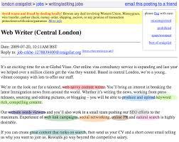 craigslist advert copywriter job description