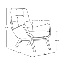 armchair drawing. armchair in ancio fabric, nero with oak legs n°7 drawing e