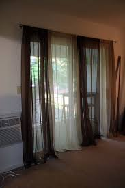 simple brown and white sliding sheer curtain panel of captivating