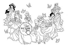 Six Disney Princesses Coloring Page For Kids Disney Princess