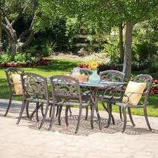 outdoor 7 piece cast aluminum rectangle dining set by knight home patio furniture austin patio furniture