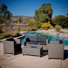 best ing home decor puerta 4 piece wicker frame patio conversation set with black cushions