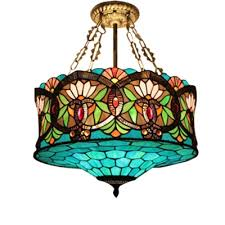 18 inch wide 3 light tiffany ceiling light with splendid baroque pattern glass shade