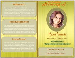 Funeral Leaflet Template Free Funeral Program Template For Mac