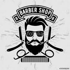 Barber Shop Vintage Label Badge Or Emblem On Gray Background