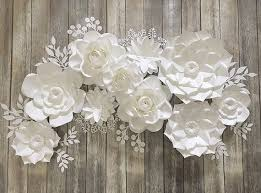White Paper Flower Backdrop Paper Flowers Wall Decor White Paper Flowers Backdrop Blush Etsy