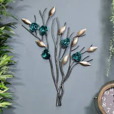 tree with turquoise flowers wall art