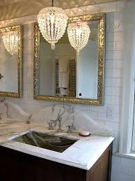 small chandelier for bathroom. Stunning Crystal Small Chandelier Hanging Over Undermount Sink In The Bathroom For E
