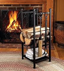 fireplace tools set log holder rack bin with firewood plow hearth find pin fireplace tools