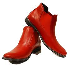 handmade men red color genuine leather boots men s real leather ankle boot